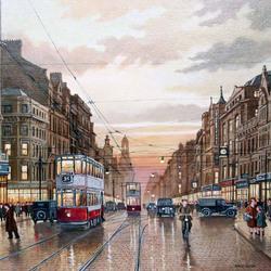 Пазл онлайн: Городской пейзаж с трамваем