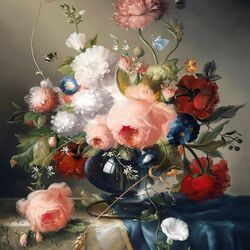 Пазл онлайн: Букет цветов с розами