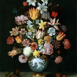 Пазл онлайн: Натюрморт с цветами в китайской вазе