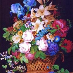 Пазл онлайн: Цветы в корзине