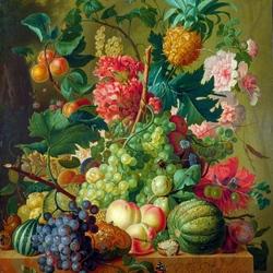 Пазл онлайн: Натюрморт с цветами и ананасом  в терракотовой вазе