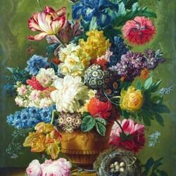 Пазл онлайн: Натюрморт с букетом цветов и гнездом