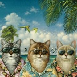 Пазл онлайн: Коты на отдыхе