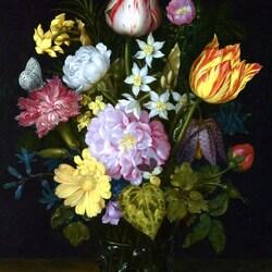 Пазл онлайн: Натюрморт с цветами в стеклянной вазе