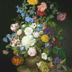 Пазл онлайн: Ваза с камелиями, розами и маками