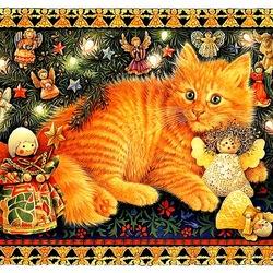 Пазл онлайн: Кошачье рождество