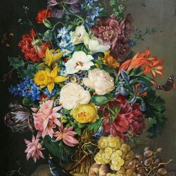 Пазл онлайн: Натюрморт с цветами, виноградом и птицей