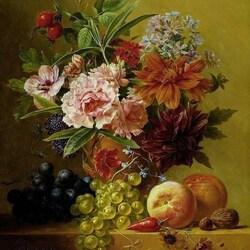 Пазл онлайн: Горшок с цветами и фрукты