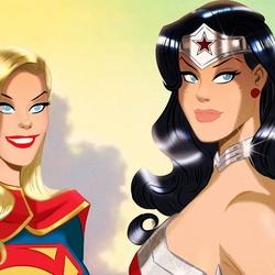 Пазл онлайн: Супер Гёрл и Чудо-женщина