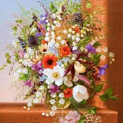 Пазл онлайн: Букет цветов на выступе