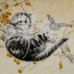 Пазл онлайн: Котенок и бабочка