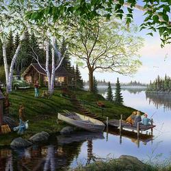 Пазл онлайн: На отдыхе у реки