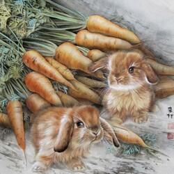 Пазл онлайн: Кролики и морковь