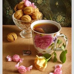 Пазл онлайн: Чай и роза