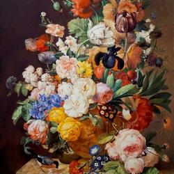Пазл онлайн: Букет цветов в терракотовой вазе