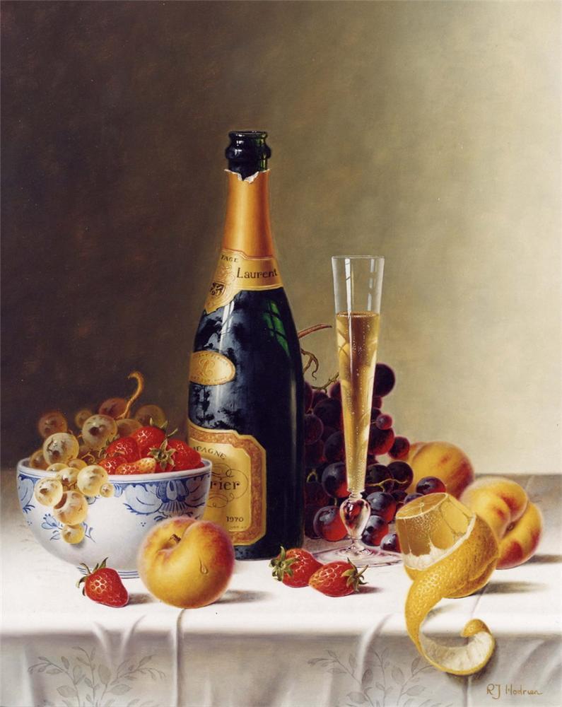 Открытки с шампанским и фруктами