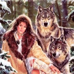 Пазл онлайн: Девушка и волки