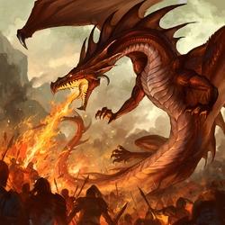 Пазл онлайн: Огнедышащий дракон