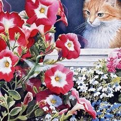 Пазл онлайн: Кот и птаха