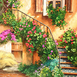Пазл онлайн: Уютные дворики. Лесенка