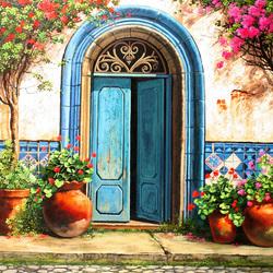 Пазл онлайн: Уютные дворики. Дверь