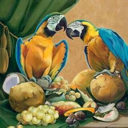 Пазл онлайн: Натюрморт с попугаями