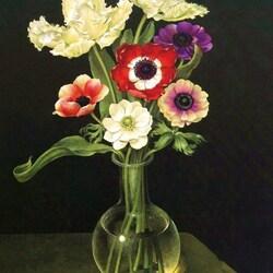 Пазл онлайн: Анемоны и тюльпаны