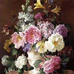 Пазл онлайн: Букет с розами и антирриумом