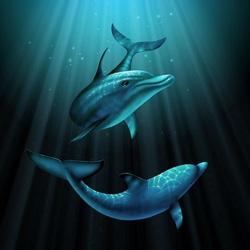 Пазл онлайн: Дельфины в океане