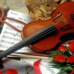 Пазл онлайн: Скрипка и розы