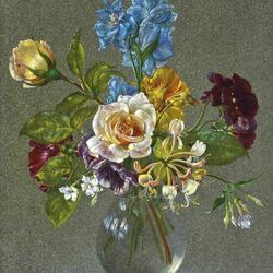 Пазл онлайн: Букет с розами