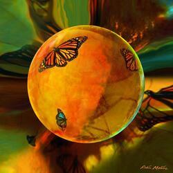 Пазл онлайн: Шар с бабочками