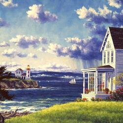 Пазл онлайн: Маяк и дом