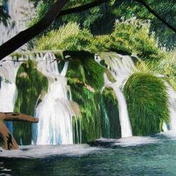 Пазл онлайн: Китайская вышивка Су / Водопад