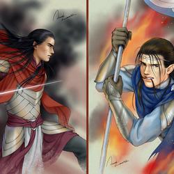 Пазл онлайн: Эльфы Средиземья: Феанор и Фингон