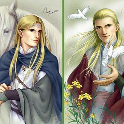 Пазл онлайн: Эльфы Средиземья: Финрод и Глорфиндел