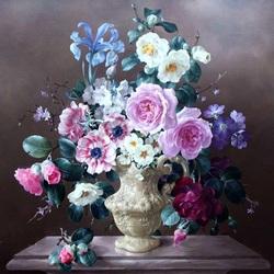 Пазл онлайн: Розы и голубой ирис