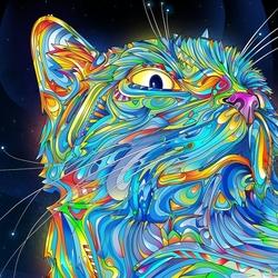 Пазл онлайн: Лунный кот