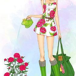 Пазл онлайн: Модная садовница