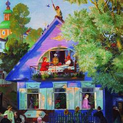 Пазл онлайн: Голубой домик