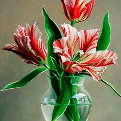 Пазл онлайн: Полосатые тюльпаны
