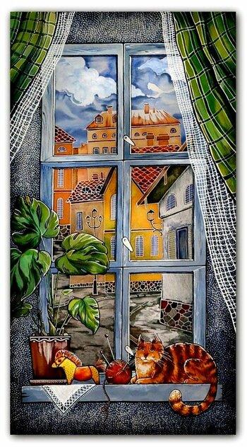 Окна с рисунком кошки
