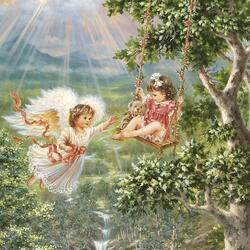 Пазл онлайн: Девочка и ангел