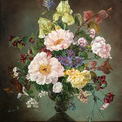 Пазл онлайн: Букет цветов с желтыми ирисами