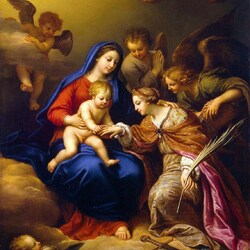 Пазл онлайн: Обручение св. Екатерины