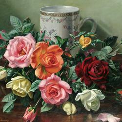 Пазл онлайн: Букет роз и чашка