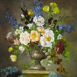 Пазл онлайн: Букет цветов в цинковой вазе