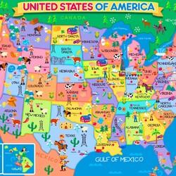 Пазл онлайн: Карта США для детей
