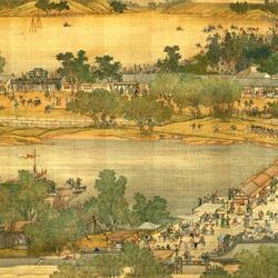Пазл онлайн: Картина - свиток . «Праздник Цинмин на реке Бянъхэ » (4)
