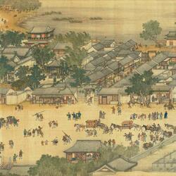 Пазл онлайн: Картина - свиток . «Праздник Цинмин на реке Бянъхэ » (5)